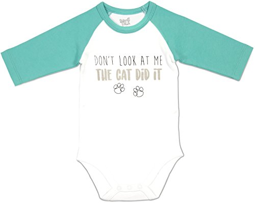 Pavilion - Don't Look at Me The Cat Did It - Teal 3/4 Sleeve Unisex 6-12 Months Onesie