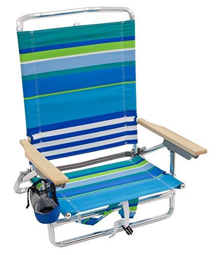 Rio Beach Classic 5 Position Lay Flat Folding Backpack Beach Chair - More Than A Blue Stripe]()