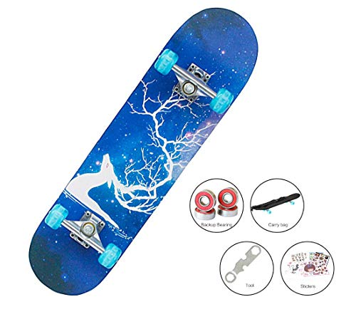Easy_way Complete Skateboard with Colorful Light Up Flashing Wheels for Kids Boys Girls Youths Beginners 31 x 8 Canadian Maple Layers Birthday Gift Present for Kids Boys Girls
