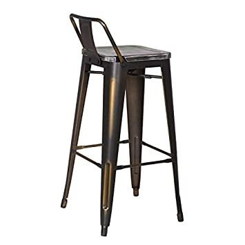 Adeco 2016 New 30 inch Industrial Chic Metal Barstool with Half Green Wooden Seat, Low Back, Black Set of Two