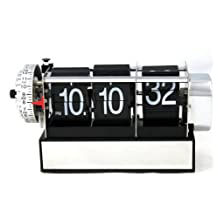 PDXD Retro Auto Flip Down Clock Gear Operated Alarm Clock for Home Decoration/Gifts (Black)