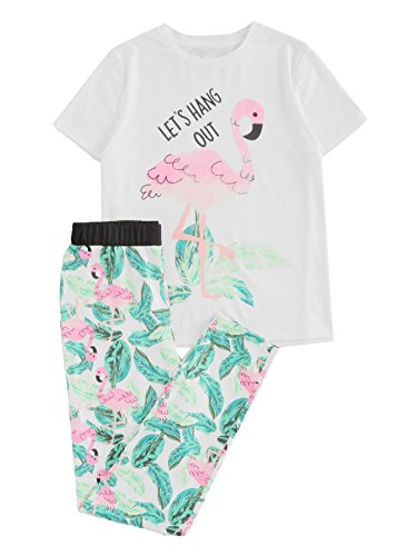 DIDK Flamingo And Jungle Leaf Print Top And Pants Pajama Set White & Green XS - Leaf Print Pant Set
