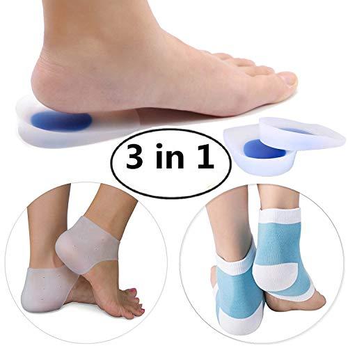 - Gel Heel Cups Cushions, Back Heel Sleeves, Moisturizing Socks, Plantar Fasciitis Relieve Pain All 3 Pairs