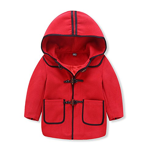 Birdfly Toddler Boys Hoodie Toggle Jacket Classic Fleece Coat Warm Outwear Kids Fall Winter Clothes (5T, Striped-Red) (Bunting All Weather)