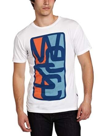 WeSC Men's Overlay Frame Short Sleeve T-Shirt, White, Medium