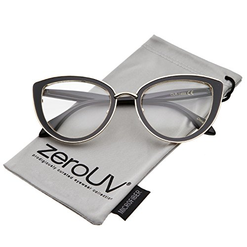zeroUV - Women's High Sitting Temples Teardrop Clear Lens Cat Eye Glasses 53mm (Shiny Black-Gold-Black / - Warby Sunglasses Best Parker
