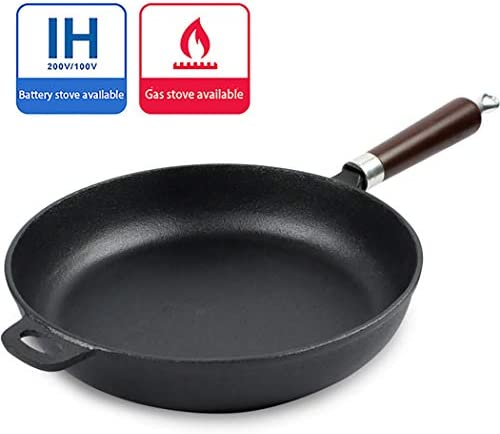 Poêle à steak universelle en fonte noire de 26 cm de long x 5 cm de haut.