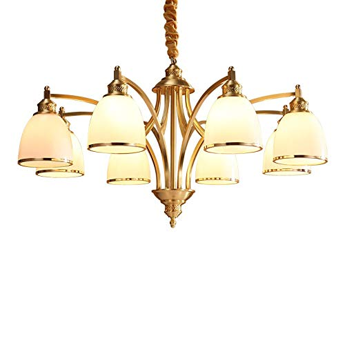 RanMory31 Glass Pendant Shade Copper Pendant Lamp Brass Hanging Light Glass Shade Chandelier Modern Bjornled Suspension Lighting American Country Nordic
