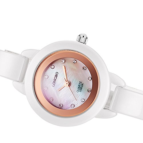 - PASOY Womens White Ceramic Watch Elegant Crystal Rose Gold Hands Shells Dial Girls Sapphire Glass Watches