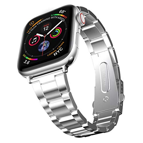 GANENN Compatible Apple Watch Band 40mm / 44mm- Women Man iWatch Bands Strap Stainless Steel Bracelet Bangle Wristband for Apple Watch Series 4/3/2/1 (40mm, Silver)
