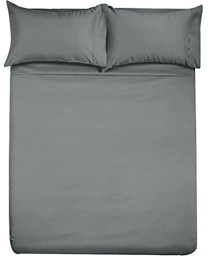 Angel Bedding Hotel Collection Bed Sheets and Pillowcases - 1800 Series Brushed Microfiber - Wrinkle, Fade, Stain Resistant - 4 Piece (Queen Sleeper Sofa, Solid Grey)
