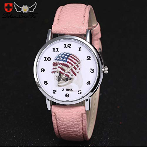 Unisex Flag Skull Quartz Leather Analog Simple Wrist Watch Round