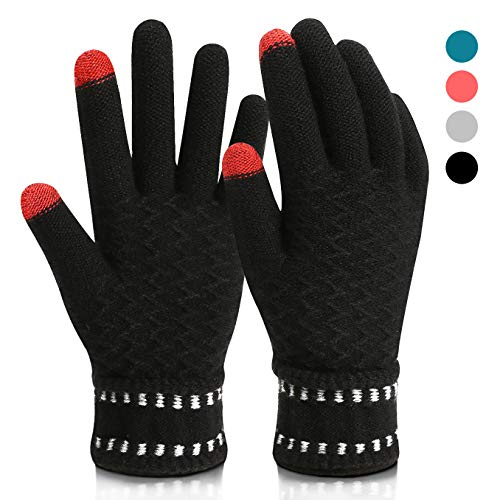Winter Gloves,Mossio Thick Cold Weather Gloves Windproof Warm Knit Mittens Black