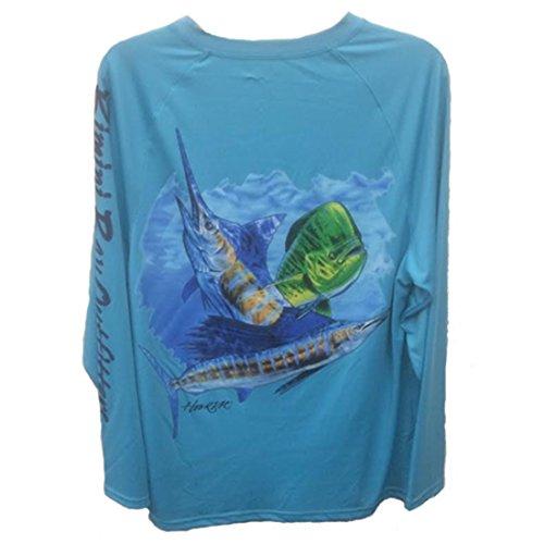 Bimini Bay Outfitters Men's Hook'M Graphic Long Sleeve Shirt Off Shore Slam Scuba Blue 3XL ()