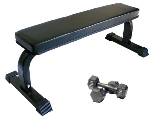 Ader Heavy Duty Flat Bench w/ Two 10 lb Hex Dumbbells by Ader Sporting Goods