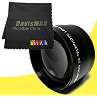77mm 2x Telephoto Lens for Canon EOS Rebel T5i with Canon 100-400mm IS USM Lens + DavisMAX Fibercloth Lens Bundle
