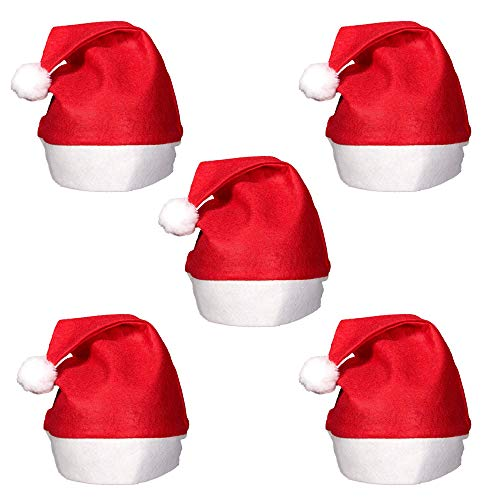 Christmas Santa Claus Hats, Classic Red Cap Adult Kids Xmas Party Plain Design Red & White Christmas Party - Perfect Accessory for Santa Claus Costume Celebrate Xmas with Family & Friends (27cm, 5pcs)