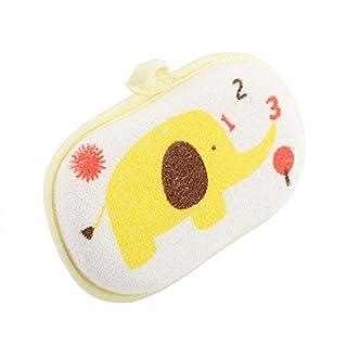 Baby Bath Sponge Cute Elephant Pattern Baby Cotton Bath Brush Shower Sponge Washing Rubbing Accessory(Yellow)