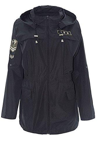 Veste Showerproof 46 52 Black Nouveau Imperméable Encapuchonné Dames Mac Militaire Badge SaS0Zq