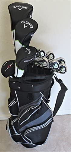 Callaway Mens Left Hand Golf Set Complete Driver, Fairway Wood, Hybrid, Irons, Putter, Clubs Cart Bag LH