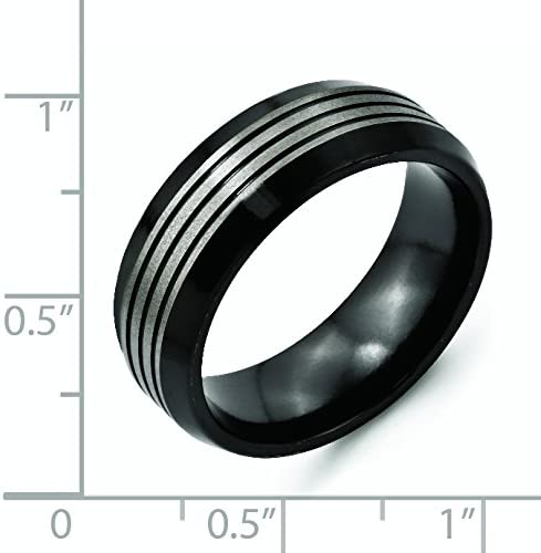 Jewelry Pot Titanium Two-Tone Ridged Top /& Beveled Edge 8mm Engravable Band