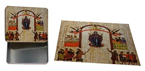 Antique Russian Orthodox Icon Metal Tin Trinket Box (4