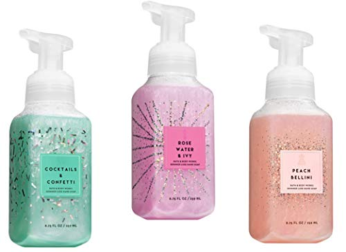 (Shimmer Luxe Foaming Hand Soap 3 Pack, Rosewater & Ivy, Cocktails & Confetti, Peach Bellini, 8.75 oz )