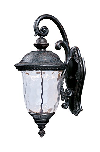 Maxim 55496WGOB Carriage House LED Outdoor Wall Mount, Oriental Bronze Finish, Water Glass Glass, LED Bulb , 60W Max., Wet Safety Rating, Standard Dimmable, Glass Shade Material, 2016 Rated Lumens ()