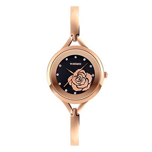 Ladies Watches Rose Gold Watch Rhinestone Jewelry Quartz Waterproof Wrist Watches For Women (Black)