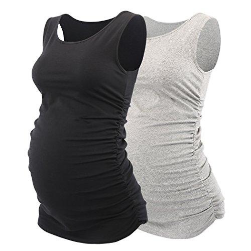 KUCI Maternity Tank Top, Women Basic Vest Side Ruched Scoop Neck Sleeveless Pregnancy Tunic Mama Cami