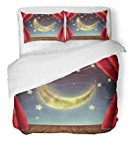 Emvency 3 Piece Duvet Cover Set Brushed Microfiber Fabric Breathable Red Magic Theater Stage with Moon and Stars Fantasy Room Alien Astronomy Cinema Bedding Set with 2 Pillow Covers Twin Size