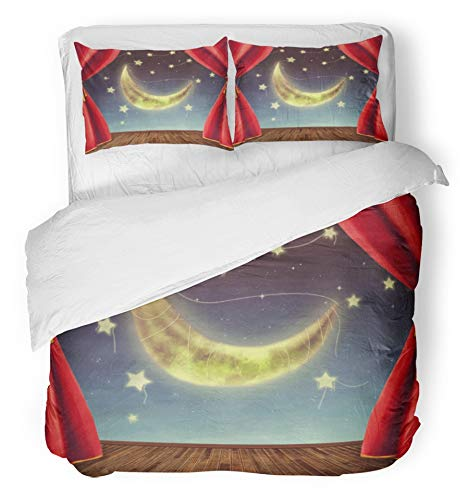 Emvency 3 Piece Duvet Cover Set Brushed Microfiber Fabric Breathable Red Magic Theater Stage with Moon and Stars Fantasy Room Alien Astronomy Cinema Bedding Set with 2 Pillow Covers Twin Size by Emvency