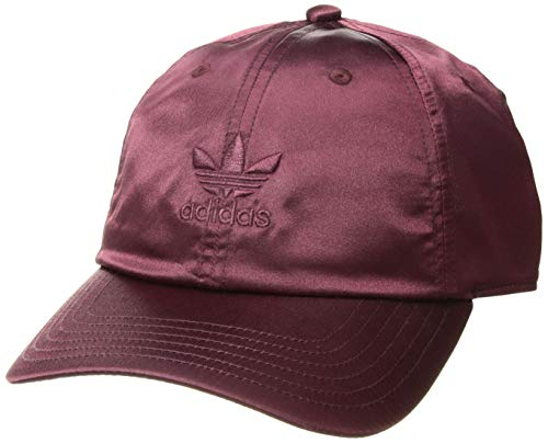 adidas Women's Originals Satin Relaxed Adjustable Strapback Cap, maroon, One Size