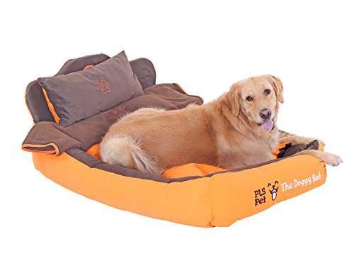 PLS Birdsong The Doggy Bed with Blanket, Large, Orange, Bolster Dog Bed, Dog Beds for Large Dogs, Completely Washable