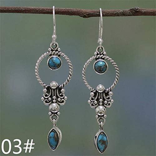 Pendientes de aleación de moda Pendientes de gota de piedra lunar de geometría bohemia de moda Pendientes de mujer