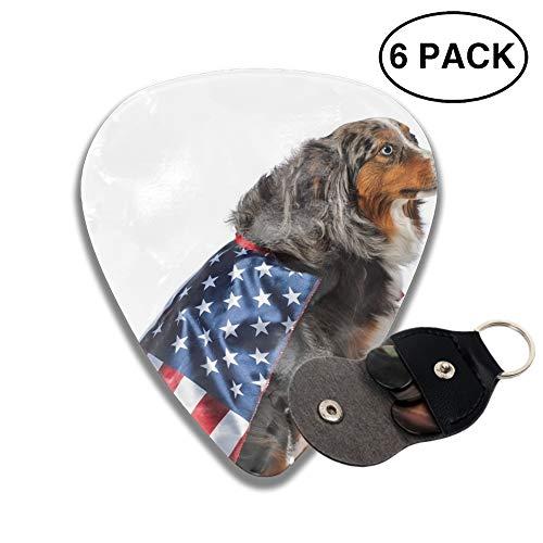 Guitar Picks 2-side Dog's United States Flag Costume Printed, 12 Pcs