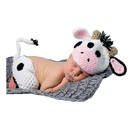 Baby Photography Props Boy Girl Photo Shoot Outfits Newborn Crochet Costume Infant Knitted Clothes Cow Hat Pants White]()