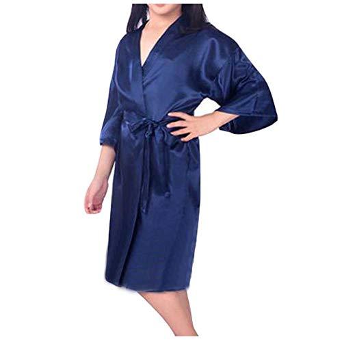 - Pigeon Fleet Japanese Style Satin Kimono Girls Pajama Bathrobe Sleepwear Loungewear, Blue