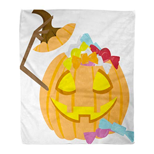 (Emvency Decorative Throw Blanket 60 x 80 Inches Halloween Pumpkin Filled Up Candies As Clipart for The Trick Treat File Warm Flannel Soft Blanket for Couch Sofa)