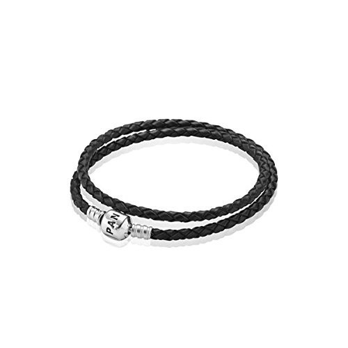Pandora Medium Double Black Leather Bracelet (15inch/38cm), 590705cbk-d2 by Pandora