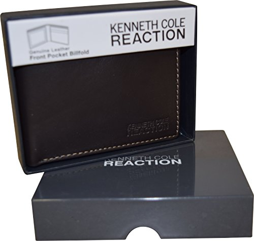 Kenneth Cole Reaction Men's Genuine Leather Passcase Wallet With Gift Box (Brown bifold (Kenneth Cole Bi Fold Wallet)