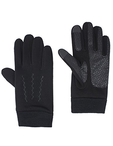 ouchscreen Gloves - Solid Black Zigzag Stitch Gloves (Cotton Lined Belt)