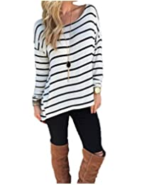 Bluetime Womens Long Sleeve Tunic Tops Blouse Round Neck Striped Loose T-shirt