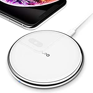 Vebach Dubhe1 Wireless Charger, Qi Certified Fast Wireless Charging Pad Compatible with iPhone Xs/XS Max/XR, 7.5W for iPhone X/8/8Plus, 10W for Samsung Galaxy S10/S10 Plus/S10E/S9 - White