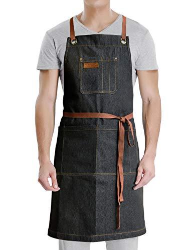 VANRICH LDG Denim Apron with Pockets,for Grill BBQ Kitchen Cooking Artist Painting,Unisex for Men Women,Bib Adjustable Design with Cross Back Straps