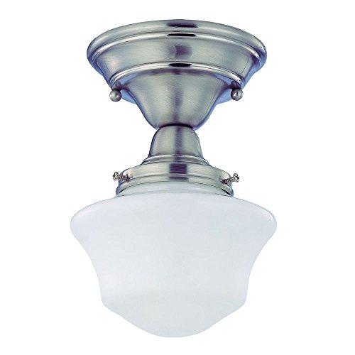 6-Inch Schoolhouse Semi-Flush Ceiling Light in Satin Nickel