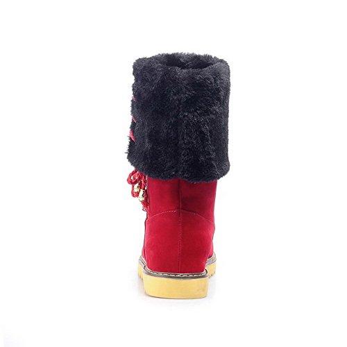 AllhqFashion Mujeres Sólido Gamuza(Imitado) Mini Tacón Cordones Puntera Redonda Botas Rojo