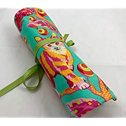 Travel Jewelry Roll Organizer - Tula Pink Kitty in Strawberry Fields