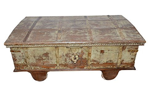 - Vintage Curved Top Trunk Chest Coffee Table Reclaimed Distressed Antique Indian Furniture Farmhouse Rustic Country Chic