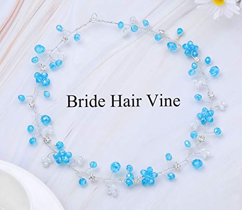 Catery Bride Wedding Headband Silver Flower Hair Vine Blue Crystal Hair Accessories for Women and Girls -